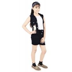 Girls Casual Top Shorts, Jacket  (Dark Blue)