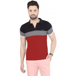 Color Block Men Collared Neck Red, Black T-Shirt