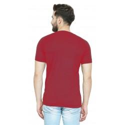 Solid Men Round Neck Mahroon T-Shirt