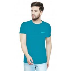 Solid Men Round Neck Blue T-Shirt