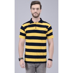 Striped Men Collared Neck Yellow T-Shirt