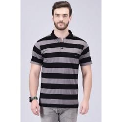 Striped Men Collared Neck Grey, Black T-Shirt