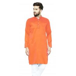 Men Solid Cotton Blend Straight Kurta  (Orange)