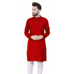 Men Solid Cotton Blend Straight Kurta  (Red)