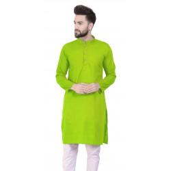 Men Solid Cotton Blend Straight Kurta  (Light Green)