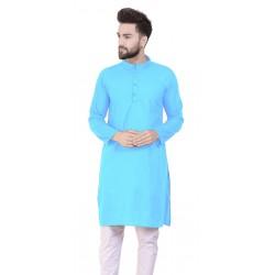 Men Solid Cotton Blend Straight Kurta  (Light Blue)