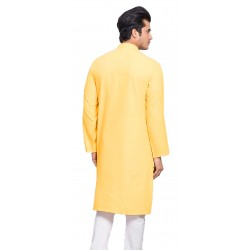 Men Solid Cotton Blend Straight Kurta  (Yellow)