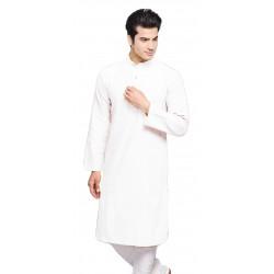 Men Solid Cotton Blend Straight Kurta  (White)