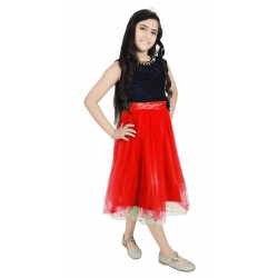 Girls Below Knee Casual Dress  (Red, Sleeveless)
