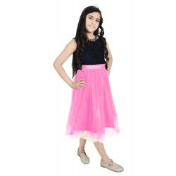 Girls Below Knee Casual Dress  (Pink, Sleeveless)