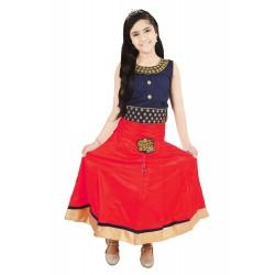 Girls Lehenga Choli Ethnic Wear Solid Lehenga Choli  (Red, Pack of 1)