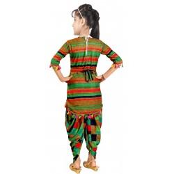 Girls Casual Kurta Dhoti Pant  (Green)