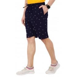 Self Design Men Dark Blue Regular Shorts