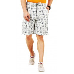 Self Design Men Beige Regular Shorts