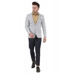 Solid Single Breasted Festive & Wedding Men Full Sleeve Blazer  (Grey)