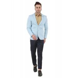 Solid Single Breasted Festive & Wedding Men Full Sleeve Blazer  (Light Blue)