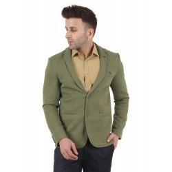 Solid Single Breasted Festive & Wedding Men Full Sleeve Blazer  (Green)