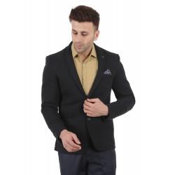 Solid Single Breasted Festive & Wedding Men Full Sleeve Blazer  (Black)