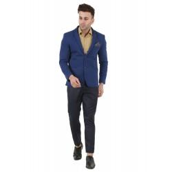 Solid Single Breasted Festive & Wedding Men Full Sleeve Blazer  (Blue)