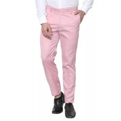 Regular Fit Men Pink Polyester Viscose Blend Trousers