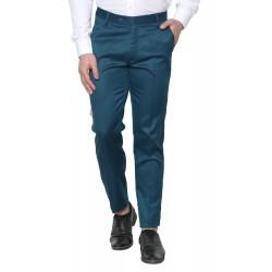 Regular Fit Men Dark Green Polyester Viscose Blend Trousers