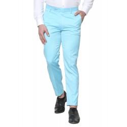 Regular Fit Men Light Blue Polyester Viscose Blend Trousers