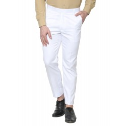 Regular Fit Men White Polyester Viscose Blend Trousers