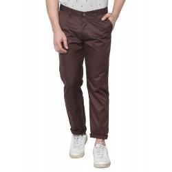 Regular Fit Men Brown Polyester Viscose Blend Trousers