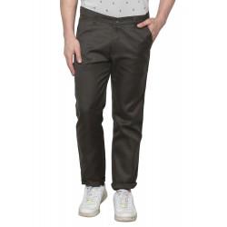 Regular Fit Men Green Polyester Viscose Blend Trousers