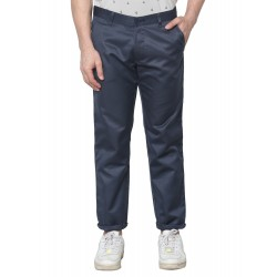 Regular Fit Men Grey Polyester Viscose Blend Trousers