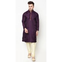Men Kurta and Churidar Set Raw Silk