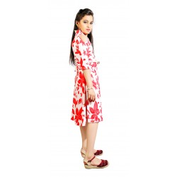 AD & AV Girls FROCK RED PATTI