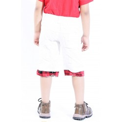 Short For Boys Casual Printed Cotton Blend  (White, Pack of 1)
