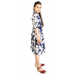 AD & AV Girls  FROCK BLUE PATTI