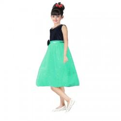 AD & AV Girls Midi/Knee Length Casual Dress RED GREEN MOTI (349)