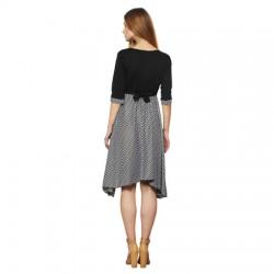 AD & AV Women's Fit and Flare BLACK STRIP Dress (557)