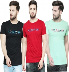 Graphic Print Men Round or Crew Multicolor T-Shirt  (Pack of 3)