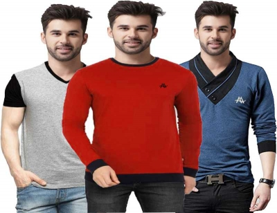 Solid Men Round Neck Multicolor T-Shirt  (Pack of 3)