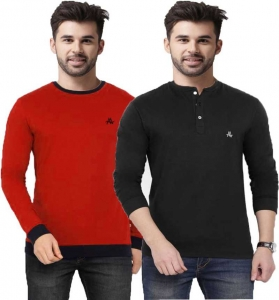 Color block Men Round or Crew Black, Red T-Shirt  (Pack of 2)