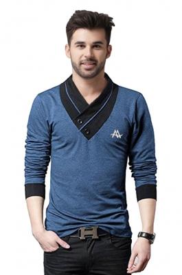 da5b8b49f82a AD & AV Solid Men's V-neck BLUE T-Shirt ...
