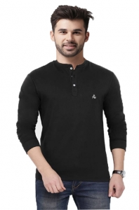 AD & AV Solid Men's U-neck BLACK T-Shirt FS (641)
