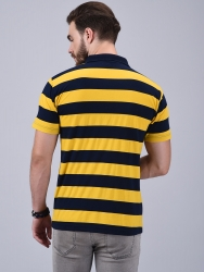 Printed Men V-neck Yellow T-Shirt