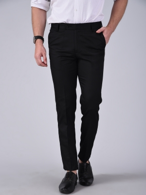 Regular Fit Men BLACK Trousers