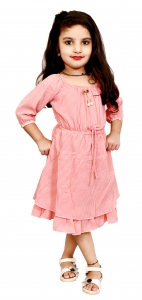 AD & AV Girls  Casual Dress ( FROCK PINK DOT )