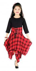 AD & AV Girls  Casual Dress (  FROCK RED CHEX )