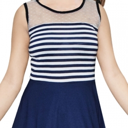 AD & AV Women's Fit and Flare BLUE STRIP Dress (454)