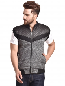 Sleeveless Self Design Men Jacket_836
