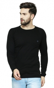 AD & AV Solid Men's Henley Black T-Shirt OD CUT  (727)