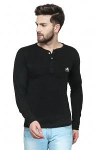 AD & AV Solid Men's Henley Black T-Shirt (726)