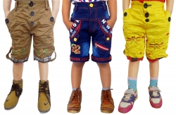 Short For Boys Casual Solid Cotton PACK OF 3 JEANS YELLOW KHAKI